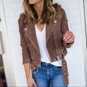 BlankNYC morning suede moto jacket coffee brown XS